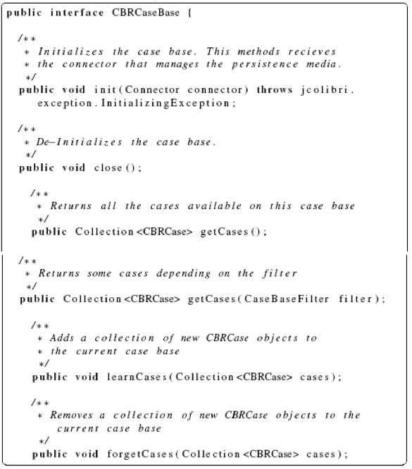 jCOLIBRI Framework CBRCaseBase