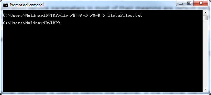 dos dir output redirected to file