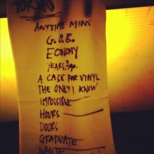 La setlist del concerto