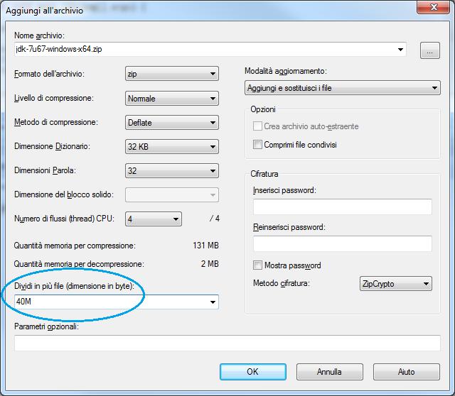 Creare uno Zip Multipart