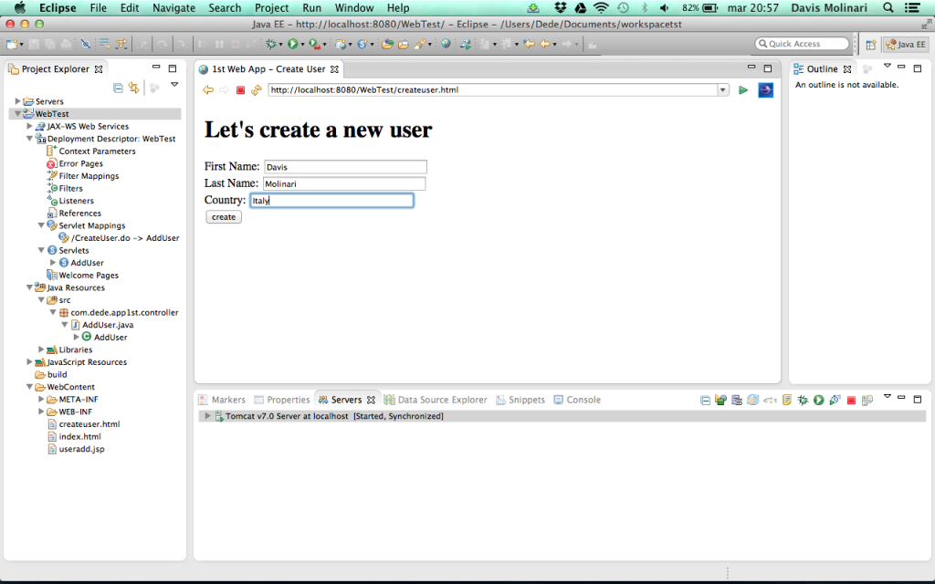 creare una semplice web application  - input form