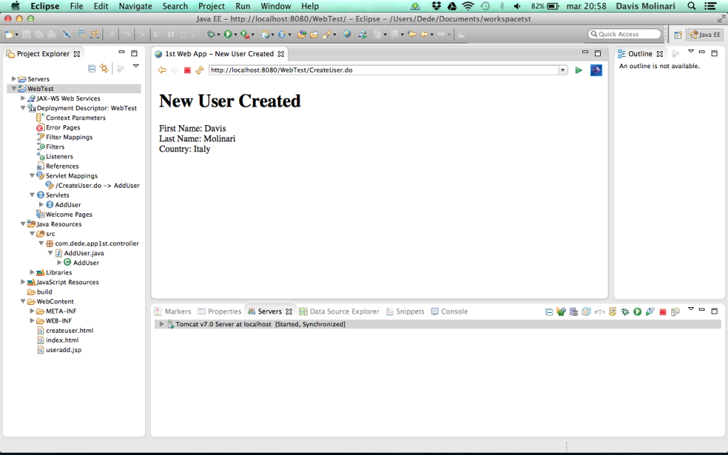 creare una semplice web application  - new record created