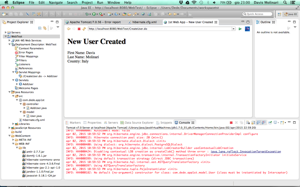 Web Application - JSP user creation
