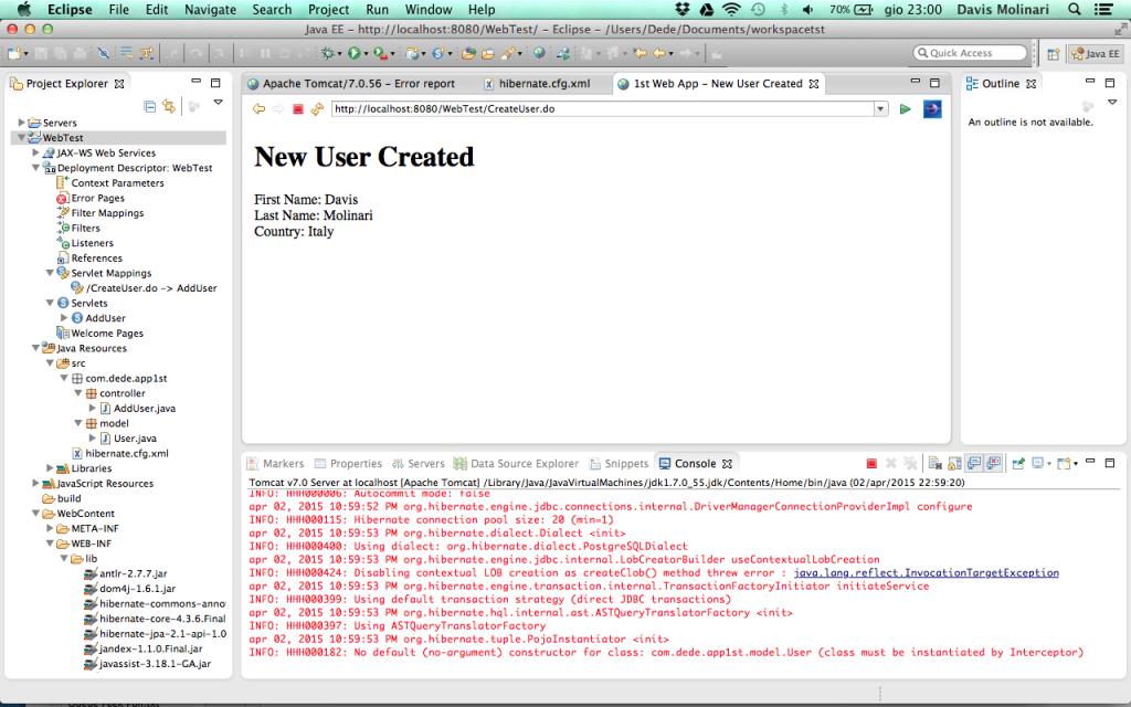 Web Application - JSP creazione utente