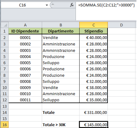 Excel SOMMA.SE example