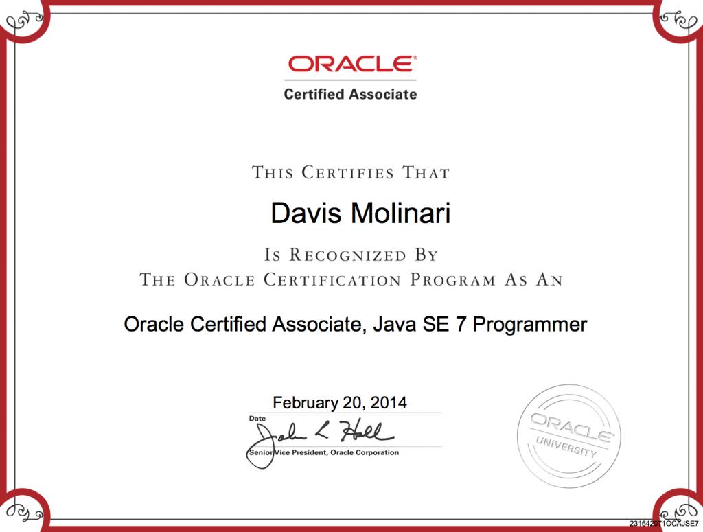 OCAJP Certificate