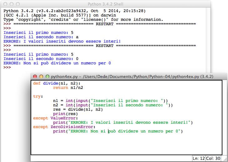Python error handling except