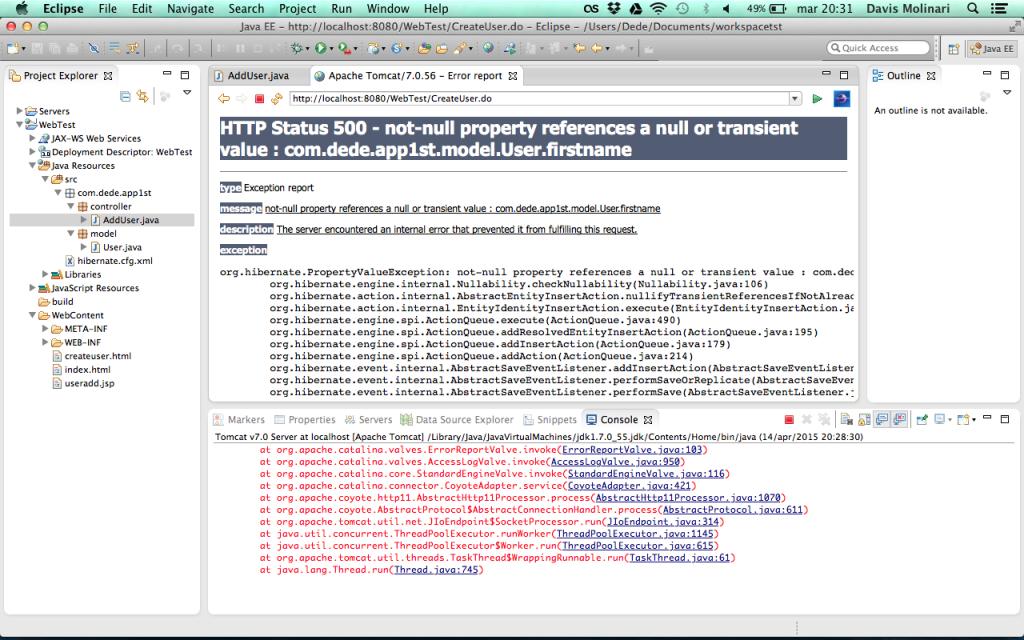 Web Application insert database constraint  violato