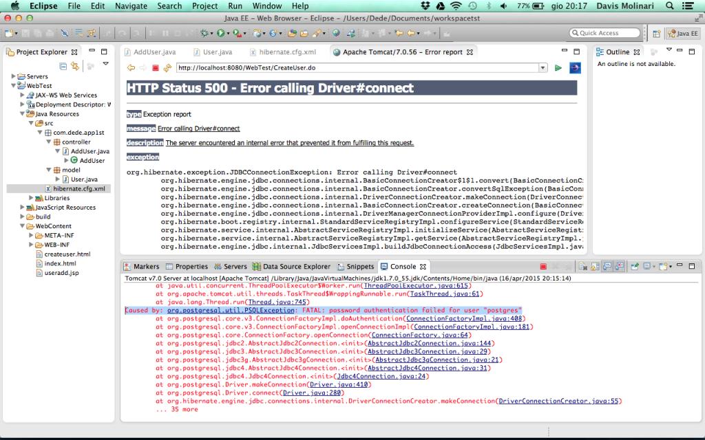 Web Application Hibernate password errata