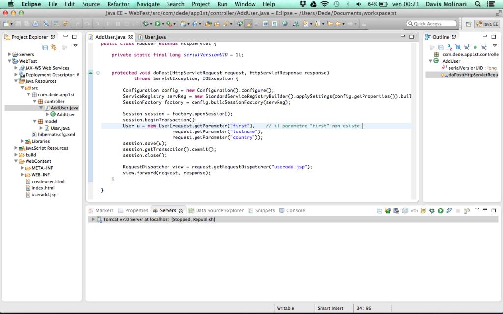 Web Application request parameter inesistente
