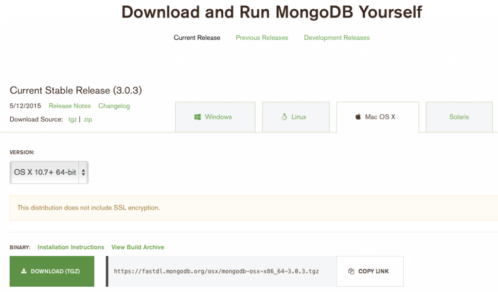 MongoDB download page
