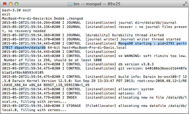 MongoDB server running