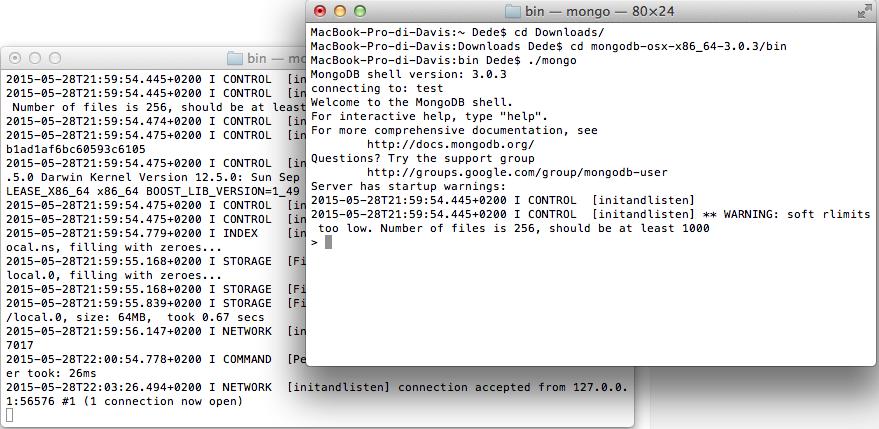 MongoDB mongo shell running