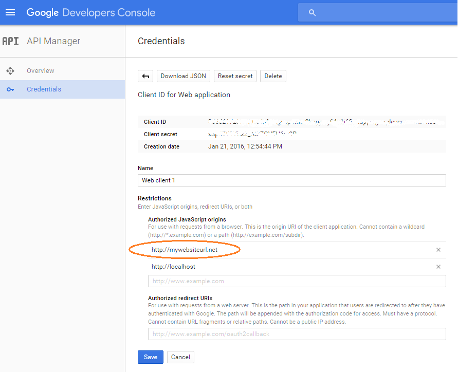 Google API authorized JavaSCript