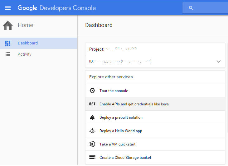 Google API dashboard