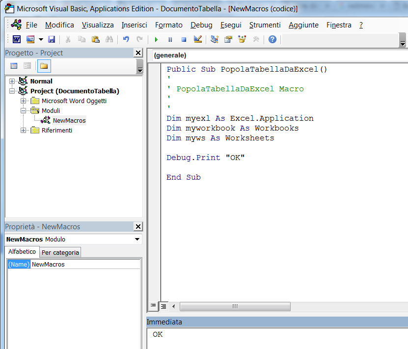 Word VBA: populate a table with data taken from an Excel