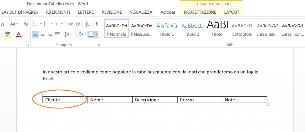 Word VBA - Prima cella modificata per non corrispondere