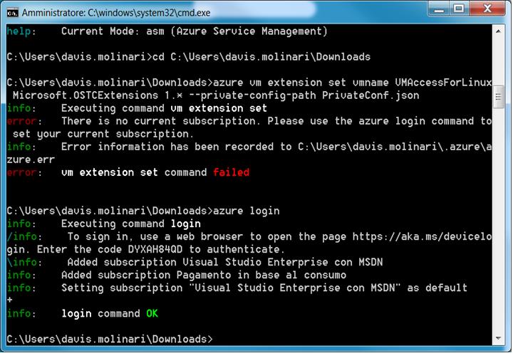 Azure CLI azure login command OK