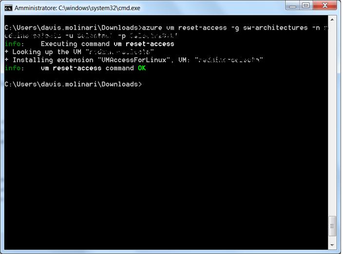 Azure CLI VM reset access command OK