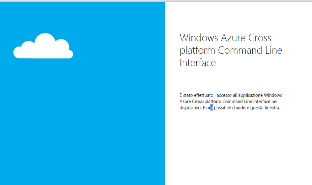 Azure authentication code inserted succesfully