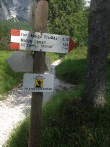 Prossimi riferimenti verso il Rifugio Canali-Treviso
