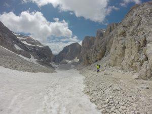 Il canalone dell'alta Val Pradidali