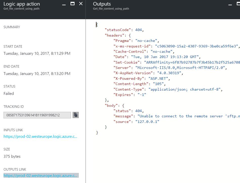 Azure Logic App  Output log step Fallito