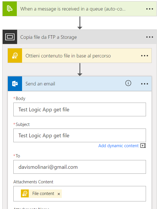 Azure Logic App step invio mail Office 365
