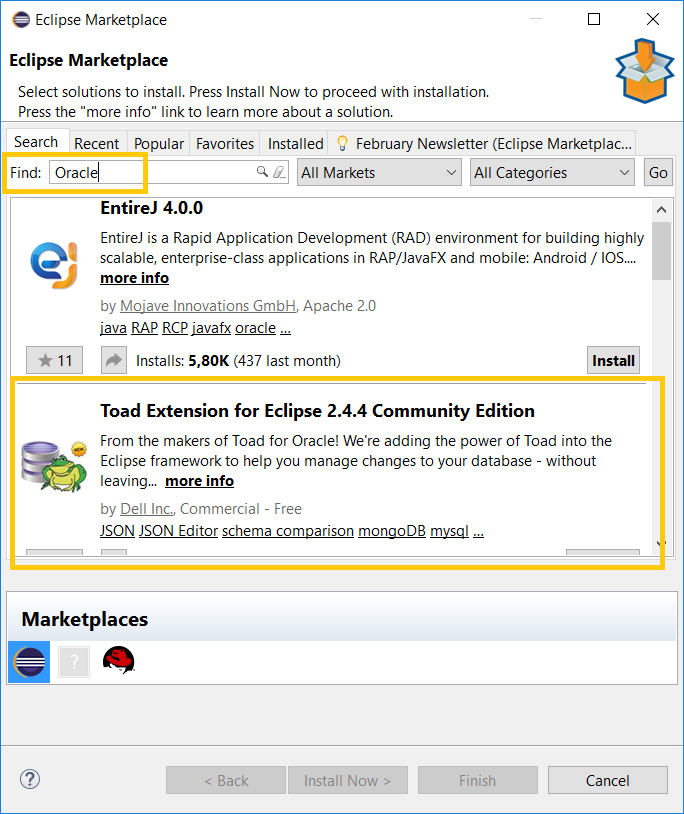 Toad Extensions in Eclipse marketplace