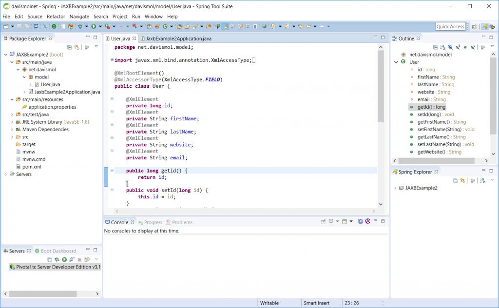 Esempio classe Java annotata con JAXB