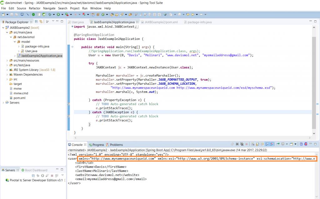 JAXB XML namespace and location marshal