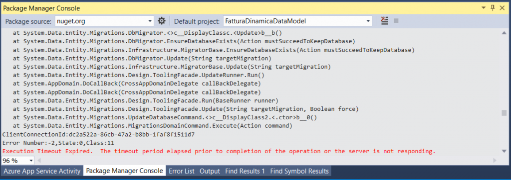 Entity Framework Update Database timeout