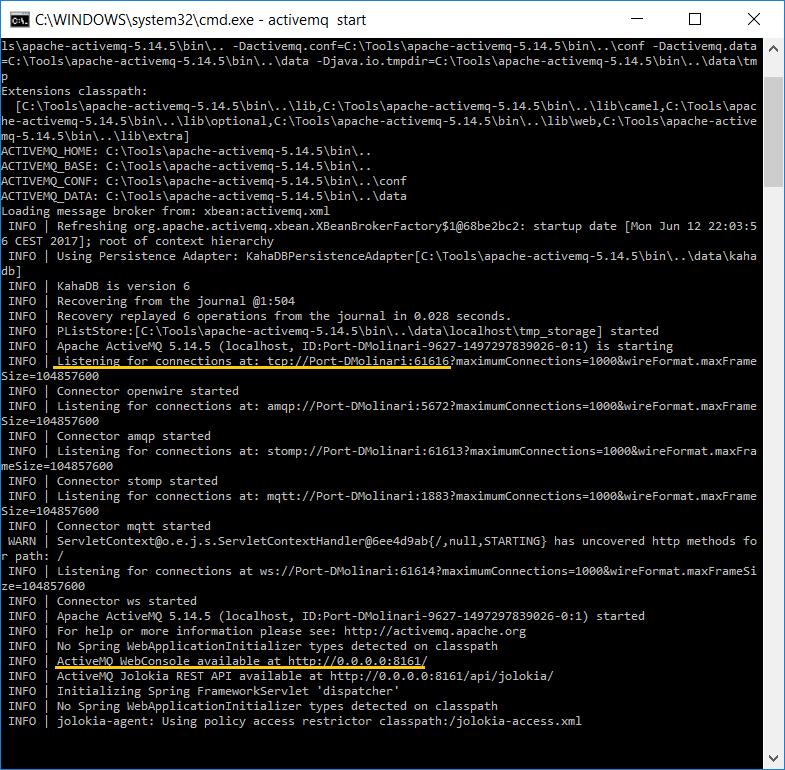 CamelJMStoFile 08 - Apache ActiveMQ starting logs