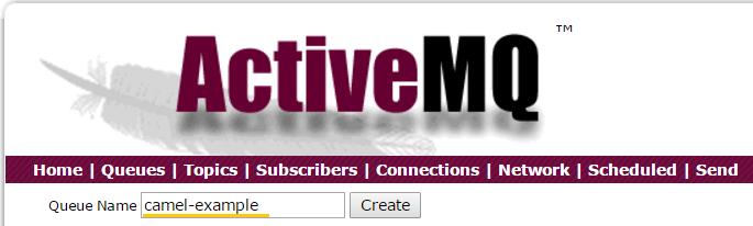 CamelJMStoFile 09 - Apache ActiveMQ WebConsole create new queue