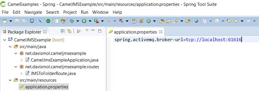 CamelJMStoFile 12 - SpringBoot ActiveMQ broker url property
