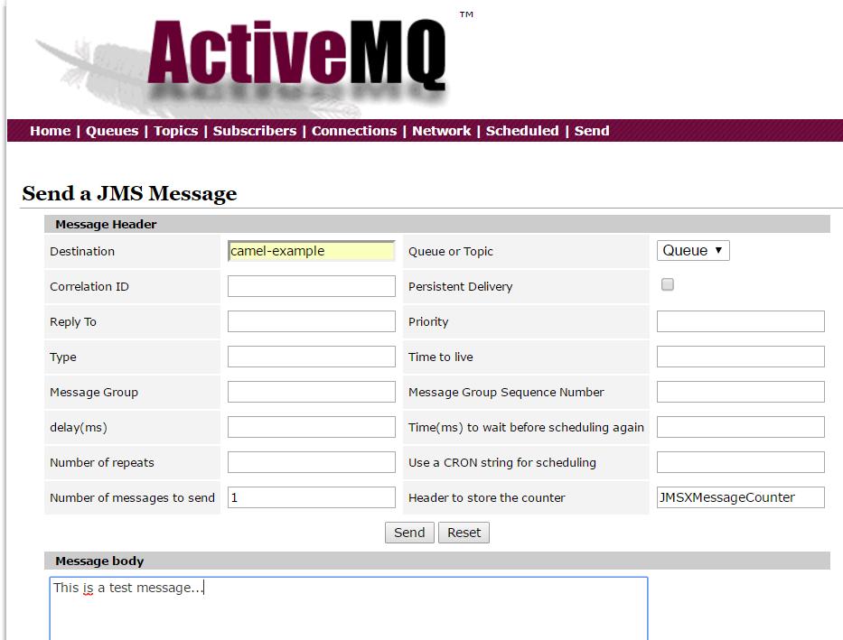 CamelJMStoFile 15 -ActiveMQ WebConsole send message to queue