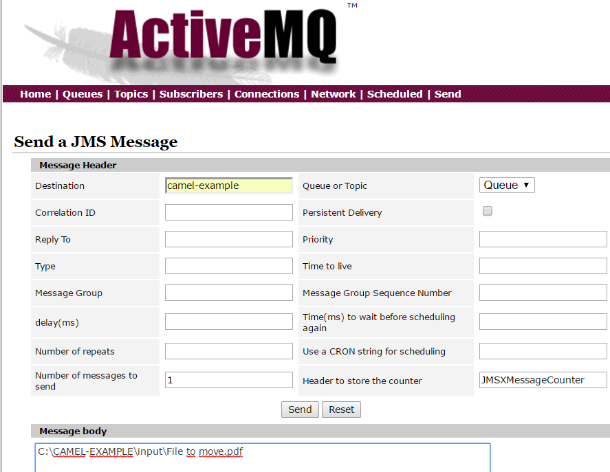 CamelJMStoFile 22 - SpringBoot ActiveMQ send fullpath as message