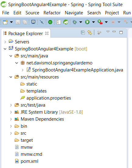 03b - Spring Tool Suite New Project structure package explorer