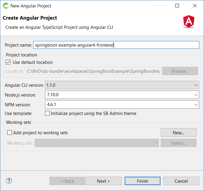 18 - Spring Tool Suite create new Angular 4 project