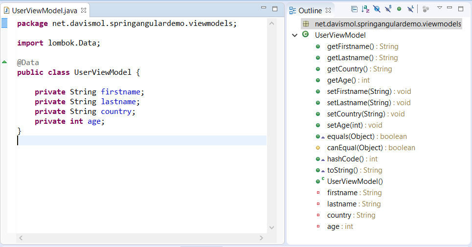 44 - Spring Tool Suite java class Outline View with lombok generated methods