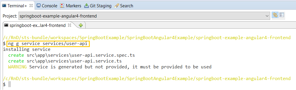 51 - Spring Tool Suite Angular CLI ng service command