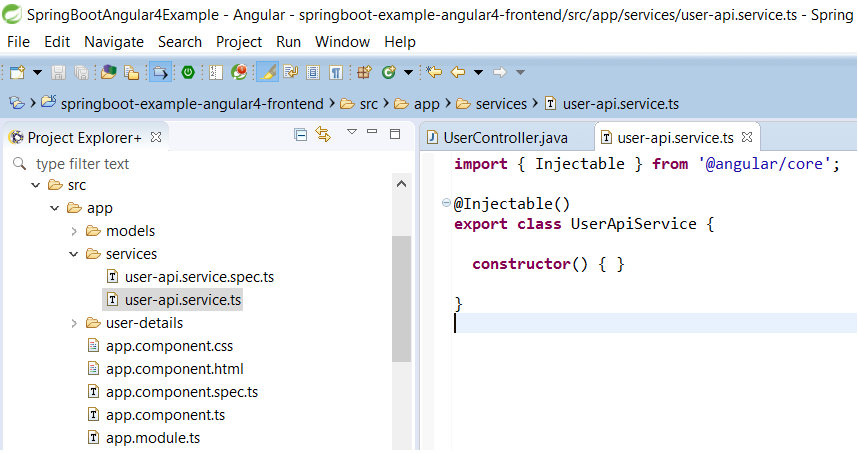 52 - Spring Tool Suite Angular CLI new Service created