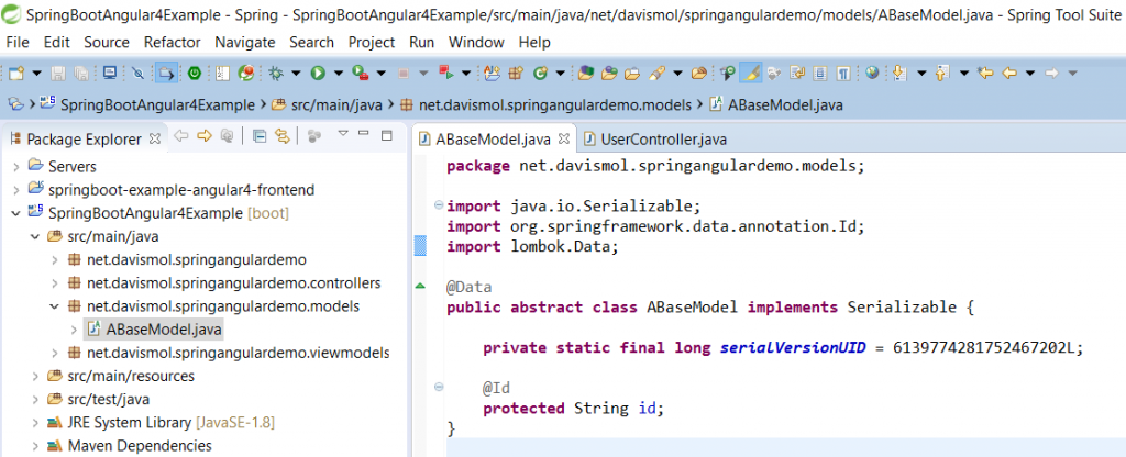 74 - SpringBoot Angular example ABaseModel class for mongo documents