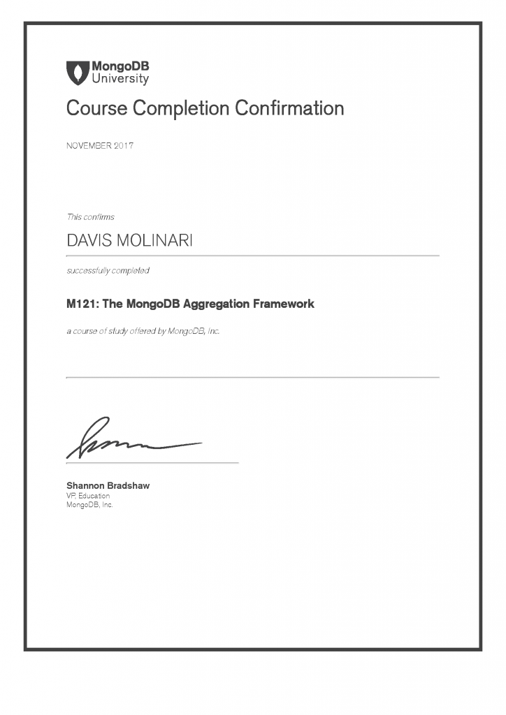 M121 - MongoDB Aggregation Framework - Course Completion Confirmation